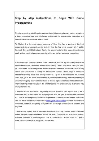 Step by step instructions to Begin With Game Programming