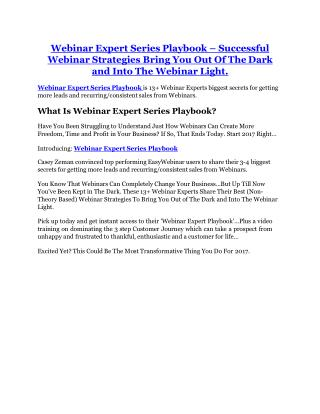 Webinar Expert Series Playbook review - EXCLUSIVE bonus of Webinar Expert Series Playbook