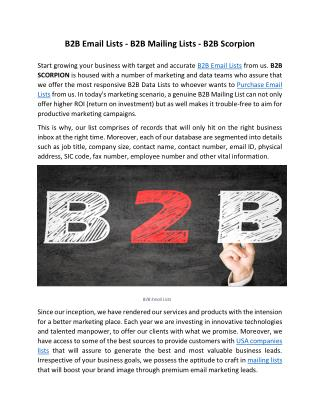 B2B Email Lists - B2B Mailing Lists - B2B Scorpion