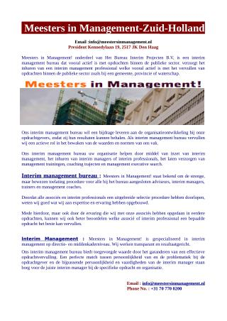 Interim Management -interim projecten- Meesters in Management