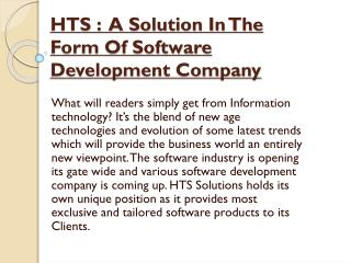 HTS: A Solution In The Form Of Software Development Company