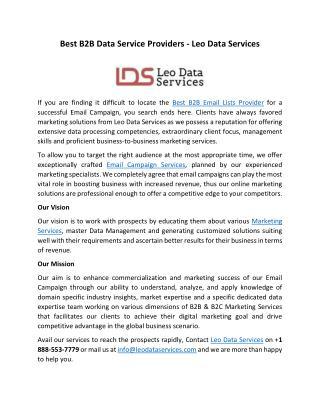 Best B2B Data Service Providers - Leo Data Services