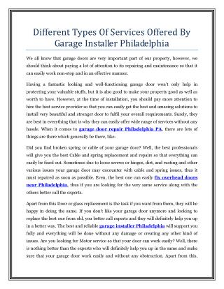 Different Types Of Services Offered By Garage Installer Philadelphia