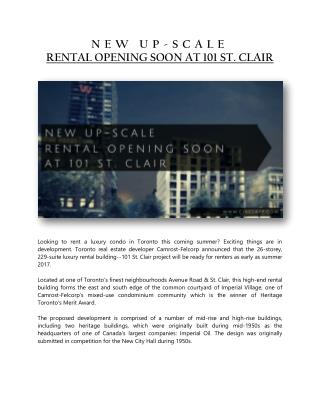 NEW UP-SCALE RENTAL OPENING SOON AT 101 St. CLAIR