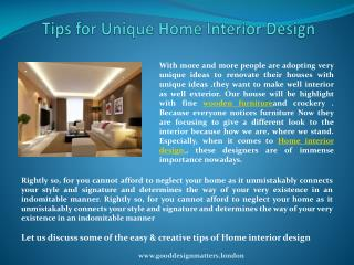 Tips for Unique Home Interior Design