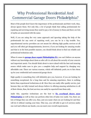 Why Professional Residential And Commercial Garage Doors Philadelphia