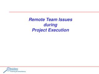 Remote Team Issues during Project Execution