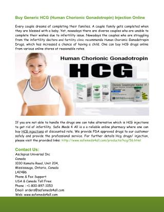 Buy Generic HCG Injection Online