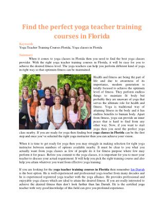 Find the perfect yoga teacher training courses in Florida