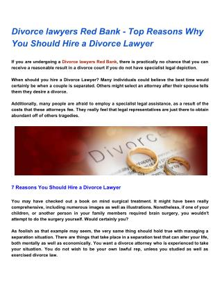 Divorce lawyers Red Bank - Top Reasons Why You Should Hire a Divorce Lawyer