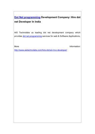 Dot Net programming Development Company: Hire dot net Developer In India