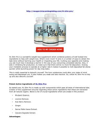 HL Slim Pro: 100% natural and safe to get slim
