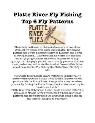 Platte River Fly Fishing Top 6 Fly Patterns