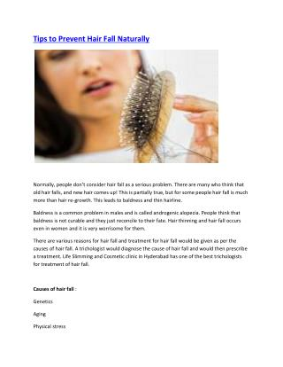 Tips to Prevent Hair Fall Naturally