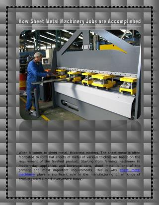 How Sheet Metal Machinery Jobs are Accomplished