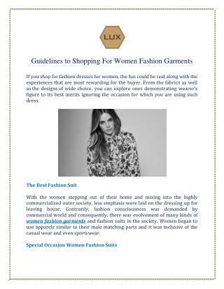 Guidelines to Shopping For Women Fashion Garments