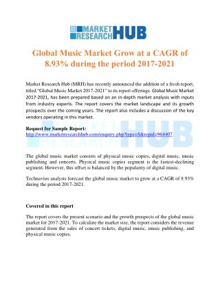 Global Music Market Grow at a CAGR of 8.93% during the period 2017-2021