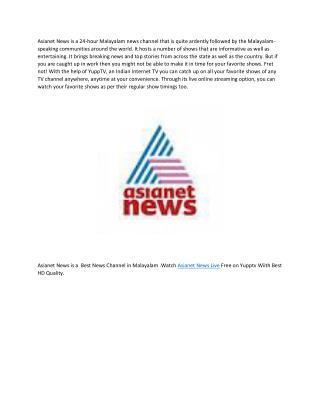 Asianet news live yupptv India