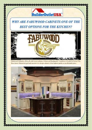 WHY ARE FABUWOOD CABINETS ONE OF THE BEST OPTIONS FOR THE KITCHEN?