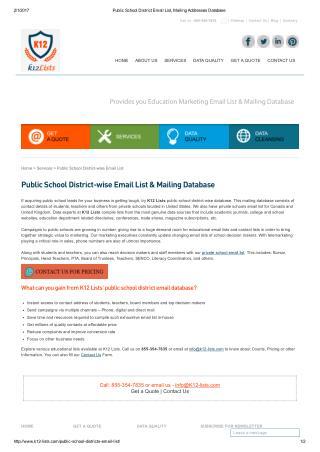Public School District Mailing List