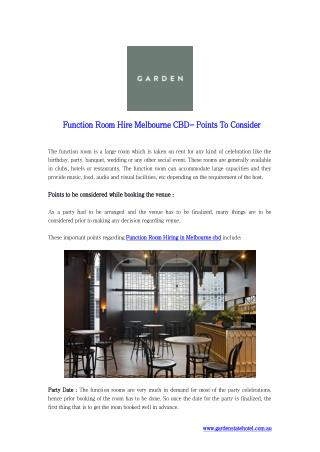 Function Room Hire Melbourne CBD- Points To Consider