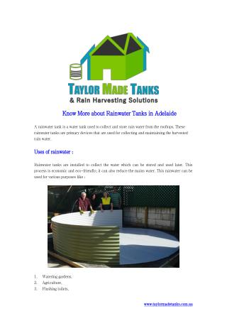 Know More about Rainwater Tanks in Adelaide