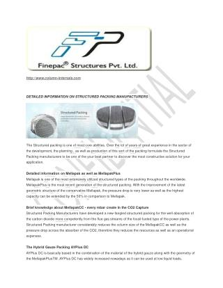 structured packing Manufacturers