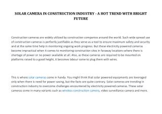 SOLAR CAMERA IN CONSTRUCTION INDUSTRY