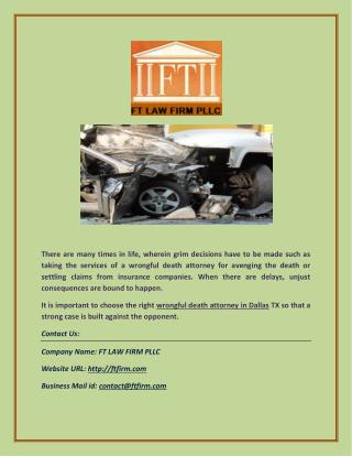 FT Law Firm: Wrongful Death Attorney in Dallas