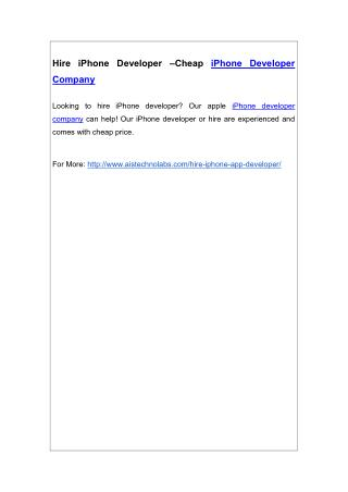 Hire iPhone Developer –Cheap iPhone Developer Company