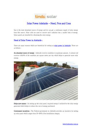 Solar Power Adelaide - Need Pros and Cons