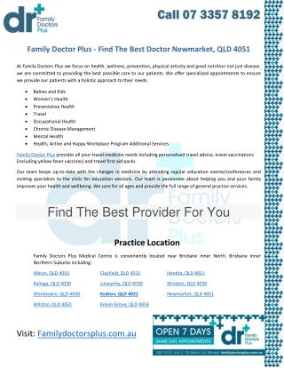 Family Doctor Plus - Find The Best Doctor Newmarket, QLD 4051