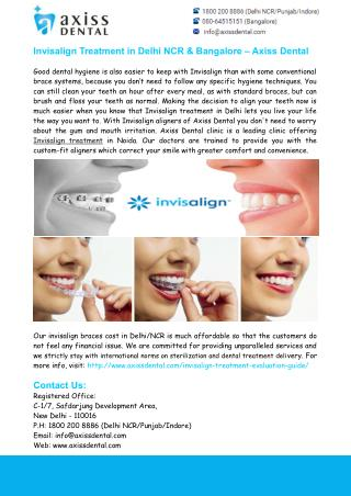 Invisalign Treatment in Delhi NCR & Bangalore – Axiss Dental