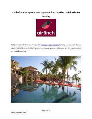 Airfinch native apps to amaze your online vacation rental websites booking