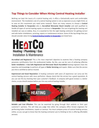 Top Things to Consider When Hiring Central Heating Installer