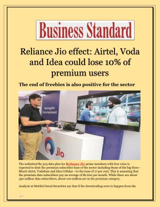 Reliance Jio effect: Airtel, Voda and Idea could lose 10% of premium users