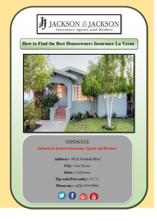 Take The Best Homeowners Insurance La Verne