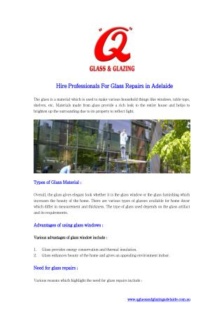 Hire Professionals For Glass Repairs in Adelaide
