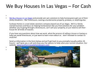 We Buy Houses In Las Vegas – For Cash