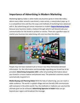 Importance of Advertising in Modern Marketing