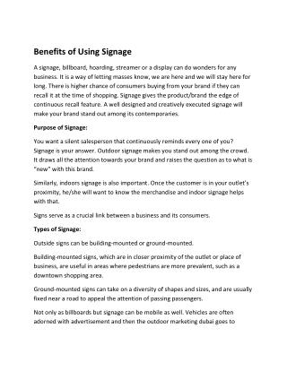 Benefits of Using Signage