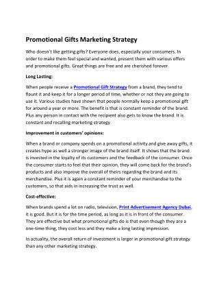 Promotional Gifts Marketing Strategy