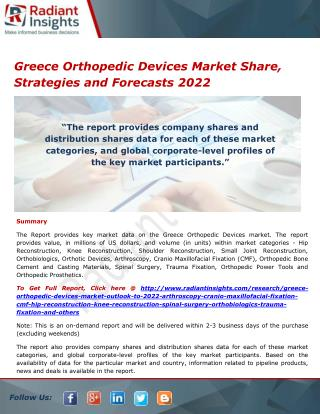 Greece Orthopedic Devices Market Share, Size, Research Report 2022