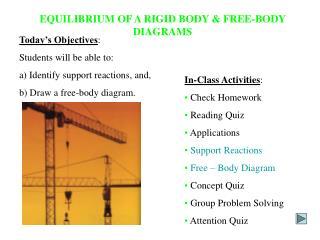 EQUILIBRIUM OF A RIGID BODY & FREE-BODY DIAGRAMS