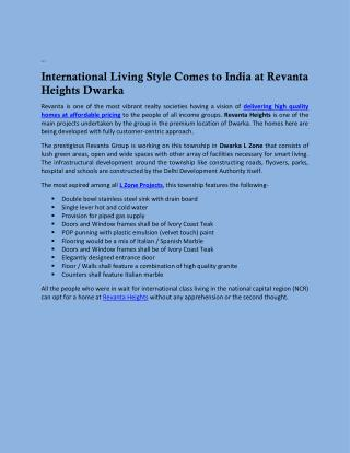 International Living Style Comes to India at Revanta Heights Dwarka