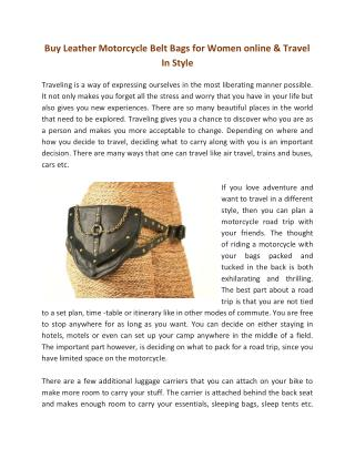 Buy Leather Motorcycle Belt Bags for Women online & Travel In Style