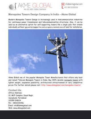 Monopoles Towers Design India