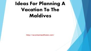 Ideas For Planning A Vacation To The Maldives