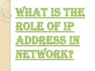 Role of IP Address in Network