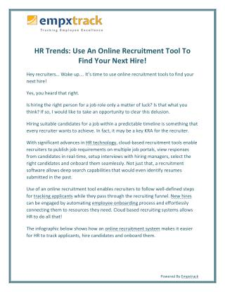 HR Trends: Use an Online Recruitment Tool to Find Your Next Hire!